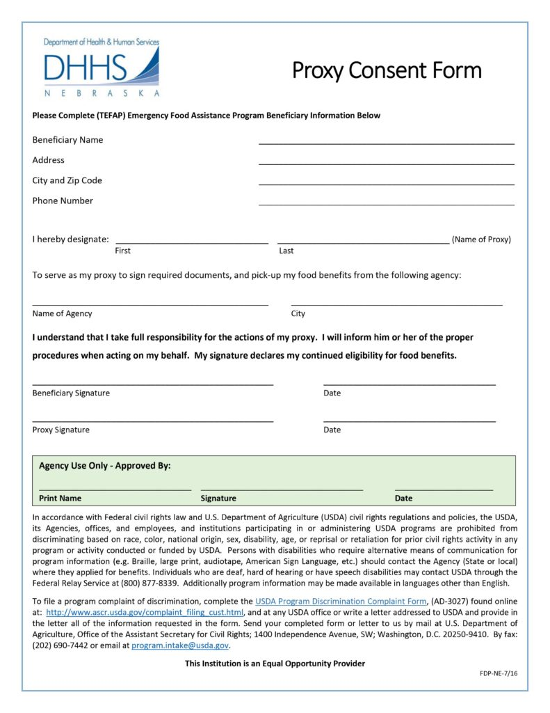 Department of Health and Human Services Proxy Consent Form