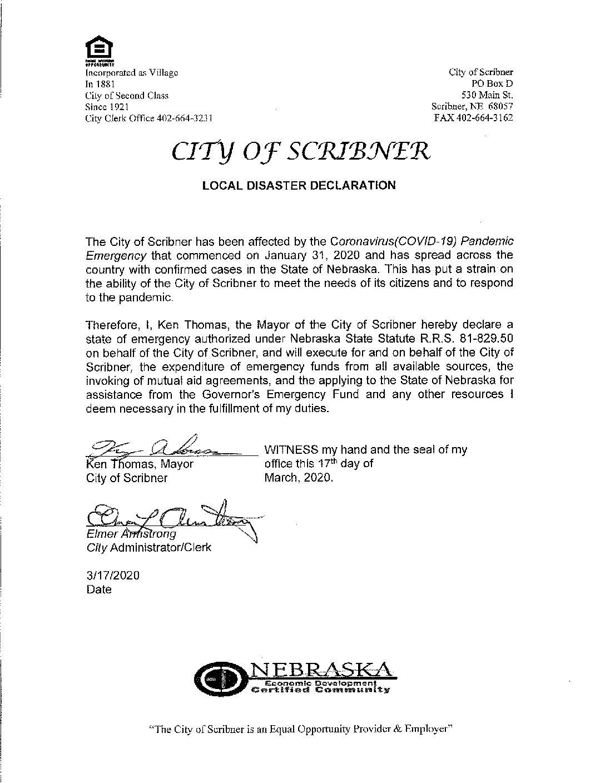 Mayor Thomas Declares State of Emergency