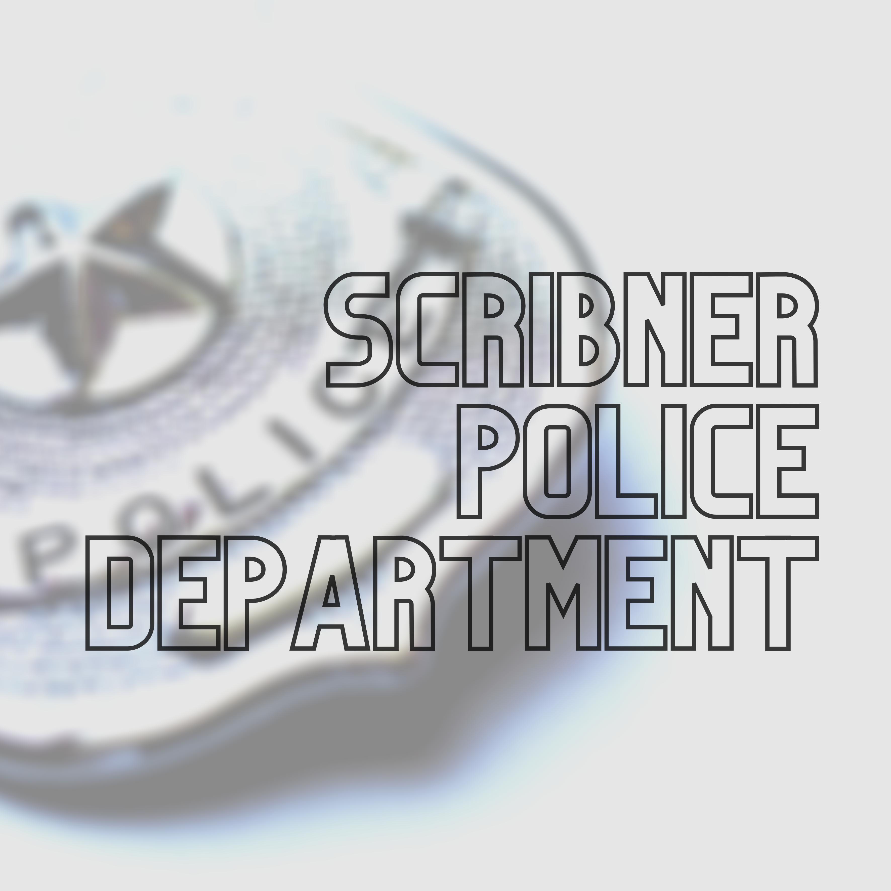 Police badge with Scribner Police Department written over it