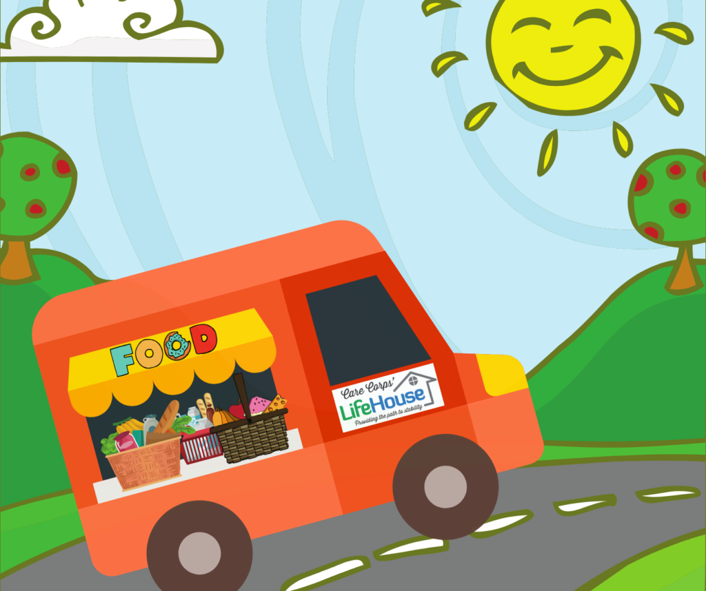 Illustration of a food truck with the Care Corps' Lifehouse logo