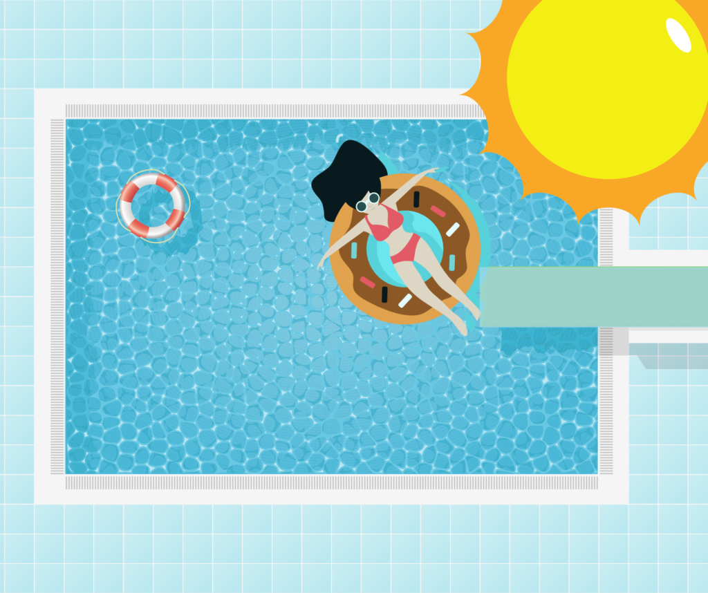 cartoon swimming pool with a sun, diving board and lady floating in the pool